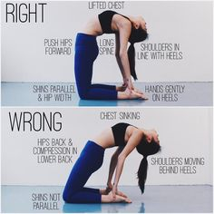 CAMEL POSE // This is not the easiest pose to do, and if it's not done right, it can cause pain in the neck & lower back. So first off, it's important to make sure you're warmed up before. • WARM UP 1. Gentle backbends: Low lunge with hands interlocked behind the back, low & high cobra 2. Quad stretches: Hero or reclined hero pose, quad stretch in low lunge or pigeon 3. Deeper backbends that stretch the anterior (front) deltoid: Reverse tabletop or plank, bow, bridge • GET INTO THE POSE 1…