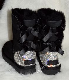 """UGG Australia Black """"Bailey Bow"""" Boots customized/blinged with Genuine SWAROVSKI® Xirius Rose-Cut Crystals ♥ If you would like to. Ugg Boots With Bows, Bow Boots, Cute Boots, Black Boots, Ugg Australia, Cute Uggs, Ugg Boots Outfit, Dress Boots, Ugg Winter Boots"""