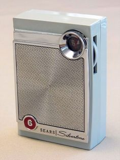 Vintage Silvertone Model 4206 Blue Mist 6-Transistor AM Radio, Sold by Sears.
