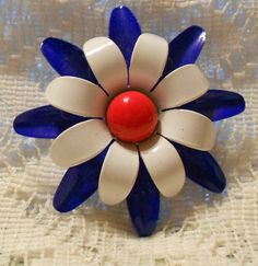 Vintage Red, White, and Blue Flower Pin