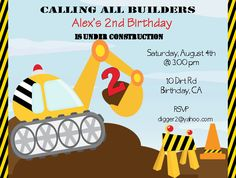 Digger Party Invitation printable by SMALLMOMENTSdesigns on Etsy, $10.00
