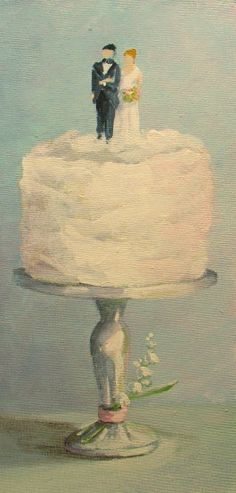 Wedding Cake painting  original dessert art FREE usa shipping. , via Etsy.  Custom Wedding Cake paintings available