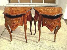 Pair quality Louis XV style marquetry side tables