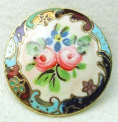 Antique French Enamel Button Hand Painted Floral w/ Fancy Border