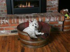 Wine Barrel Pet Bed - need to start drinking wine!