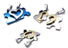 Couple Stainless Steel Puzzle Heart Pendant With Necklaces And Jewelry Bags For Lover