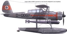The Arado Ar 95 was the basis for the prototype Ar 195 carrier-based torpedo bomber, which was proposed for operation from the German aircraft carrier Graf Zeppelin. Amphibious Aircraft, Ww2 Aircraft, Aircraft Carrier, Military Aircraft, Luftwaffe, Flying Boat, Ww2 Planes, Aircraft Design, Armada