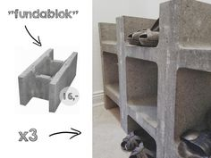 DIY: Concrete shoe rack - made of cinder blocks (fundablokke) via HOMESICK.nu