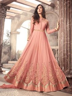 Sonal Chauhan Pink Color Net Designer Anarkali Suit latest designer silk punjabi, party wear georgette salwar suit, and in all fabrics available at VJV Costumes Anarkali, Anarkali Dress, Anarkali Suits, Anarkali Bridal, Lehenga Choli, Abaya Fashion, Indian Fashion, Fashion Dresses, Emo Fashion