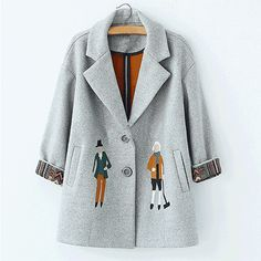 autumn women coats,European fashion Female woolen jackets Embroidery outwear winter grey coats cashmere coat femme C0361 Like and share! Get it here