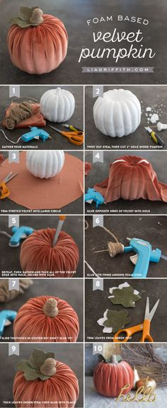 Simple to Make Velvet Pumpkin is part of Fall crafts To Make - Simple DIY Velvet Pumpkin Decoration for Fall by Handcrafted Lifestyle Designer Lia Griffith Velvet Pumpkins, Fabric Pumpkins, Fall Pumpkins, Halloween Pumpkins, Fall Halloween, Halloween Crafts, Halloween Labels, Halloween Season, Halloween Stuff
