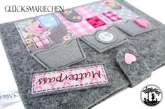 """Mutterpasshüllen - Mutterpasshülle """"LITTLE HOUSES"""" - grau - ein Designerstück von Gluecksmariechen bei DaWanda"""