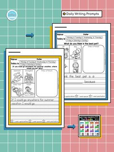Check out our Daily Writing Prompts! This resource will help your students to write and spell words correctly with visual supports and sentence starters! . . . . #teachingbiilfizzcend  #teachingbiilfizzcendproducts #kindergarten  #firstgrade  #teacherspayteachers #tpt #tptseller #tptteachers #iteachtoo #iteachfirst #teachersofig #teachersfollowteachers #iteachk #earlychildhood #earlychildhoodeducation #backtoschool #firstdayofschool⁣ #back2school First Grade Writing, First Grade Math, Daily Writing Prompts, In Writing, Homeschool Kindergarten, Kindergarten Writing, Alphabet Writing, Sentence Starters, Common Core Reading