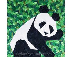 Panda quilt block pattern, paper pieced quilt patterns instant download PDF…