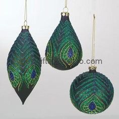 Sterling Christmas Ornament Painted glass Ball Tear drop Finial Peacock Feather 1