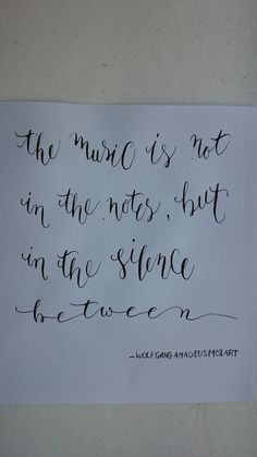 Mozart quote using modern calligraphy