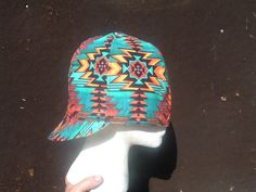 Wild ZigZag pattern Welding Cap made here in New Mexico. You can buy this cap made in your size in eBay or Etsy under Native Welding Caps.