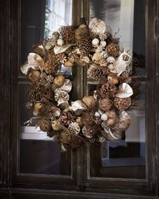 "This natural wreath with touches of pine cones, fruit, and silver leaves is a pleasantly warm surprise on a door for the holidays. Made of silvered plastic leaves, pine cones, fruit, and twigs 32""Dia. x 8""D. $260!!"
