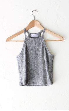 60cceb34c2 Knit Halter Crop Top - Heather Grey from NYCT Clothing.