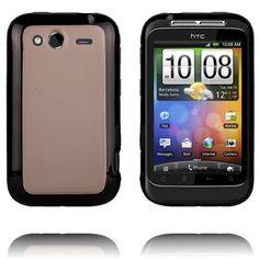 Gjennomsiktig Bakdel (Sort Kant) HTC Wildfire S Deksel Sorting, Phone, Telephone, Mobile Phones