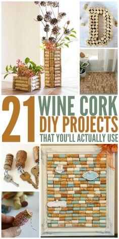 21+Wine+Cork+DIYs+You'll+Actually+Use #winecrafts