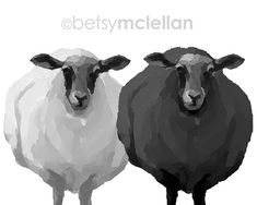 Black & White Sheep Graphic Style Giclee door betsymclellanstudio