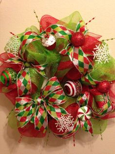 Red and Green Christmas deco mesh wreath!
