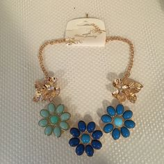 Blue and Gold Flowers Statement Necklace. Flowers Necklace. Btime Jewelry Jewelry Necklaces