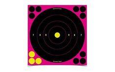 Birchwood Casey Shoot-N-C Target, Bullseye, 8 inch, 6 Targets, Pink