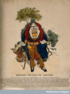 A figure dressed in a cholera safety suit. Coloured etching. English, after a German or French original of 1832.