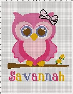 Graphghan Crazy Intarsia Crochet - Owl Graph  Name can be changed / Omitted.  I make and sell graphs, i take requests, do alterations on...