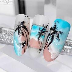 Disney Acrylic Nails, Summer Acrylic Nails, Cute Acrylic Nails, Summer Nails, Cute Nails, Tropical Nail Designs, Palm Tree Nails, Nagellack Design, Vacation Nails
