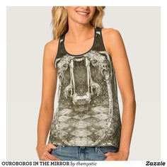 OUROBOROS IN THE MIRROR TANK TOP Mirror Artwork, Free Add, Racerback Tank Top, Designs To Draw, Amazing Women, My Design, Shop Now, Dressing, Tank Tops
