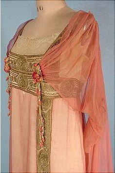 c. 1912 JEANNE HALLEE, Paris Pink Gossamer Silk Chiffon Gown