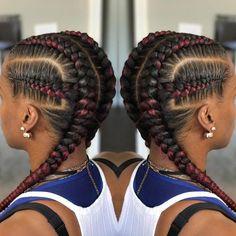 African Hair Braiding: dyi feedins - MY World Feed In Braids Hairstyles, Braided Hairstyles For Black Women, Braids For Black Hair, African Hairstyles, Cool Hairstyles, 2 Feed In Braids, Teenage Hairstyles, Protective Hairstyles, Cornrolls Hairstyles Braids