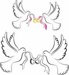 White Wedding Doves with Rings Free vector in Adobe Illustrator ai ...