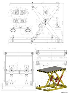Hydraulic Scissor Lift design - Engineering CAD project with calculations Hydraulic Table lifter CAD design - DIY hydraulic lift Welding Cart, Welding Table, Metal Welding, Welding Torch, Diy Welding, Garage Lift, Garage Tools, Mechanical Engineering Design, Mechanical Design