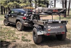 Manley trailers are inspired by the iconic Military M416 trailer, but with the finish, strength, looks and features sought out by todays overlander and weekend camper. Their rugged and lightweight Explore model is powder coated for long lasting, feat