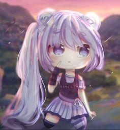 Cute Anime Chibi, Cute Anime Pics, Kawaii Anime Girl, Anime Art Girl, Bff Drawings, Anime Girl Drawings, Pink And Gold Background, Arte Final Fantasy, Anime Wolf Drawing