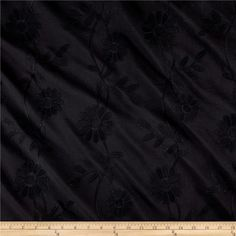 Cotton Floral Embroidery Black from @fabricdotcom  This embroidered cotton poplin fabric  is perfect for blouses, skirts, dresses, heirloom sewing and shirts.