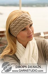 Ravelry: 123-33 Ear warmer with cables and rib pattern by DROPS design