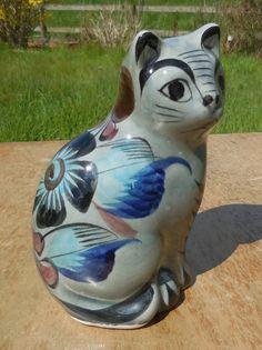 Gorgeous 1970s Vintage TONALA Ken Edwards MEXICO Hand Crafted Ceramic CAT Figurine..Retro Floral Mexican Studio Pottery..Folk Art Ornament by SlimandSugar on Etsy