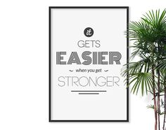 Strong Typographic Print Grad gift Typography Inspirational Poster Art, Yoga Print Black And White Dorm Decor Gym Motivational Fitness Art