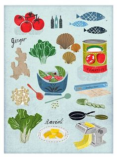 Martin Haake is represented by Lindgren Smith Illustration Kitchen Art, Kitchen Prints, Pinterest Instagram, Pattern Illustration, Travel Illustration, Illustration Artists, Food Drawing, Food Illustrations, Art Plastique