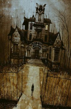 haunted house - The Art Of Damien Worm Casa Halloween, Halloween Haunted Houses, Halloween Prints, Halloween Pictures, Holidays Halloween, Vintage Halloween, Halloween Outside, Halloween Decorations, Creepy Houses