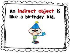 Here is a slide show to introduce indirect objects.  It explains that indirect objects are much like birthday kids.  They receive the direct object...