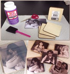 Personalized Photo Coasters.  All you need are the 5 items pictured above.  Cut the photos to fit the square pieces of wood (which btw are under a dollar at Michaels)  Apply enough Mod Podge to the wood so that the photo sticks, allow to dry for at least 10 minutes. Lastly, apply a coat of Mod Podge over the photo and allow to dry.  Voila !  Don't need a coaster ? No problem, put a self adhesive magnet on the back and slap it on the fridge !