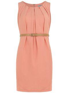 Apricot pleated belt dress - Shift Dresses  - Dresses