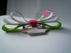 Green White and Pink Dot Medium Hair Bow by krapflgirl on Etsy, $2.40