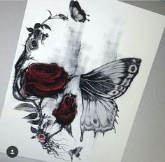 Risultati immagini per half butterfly half skull tattoo